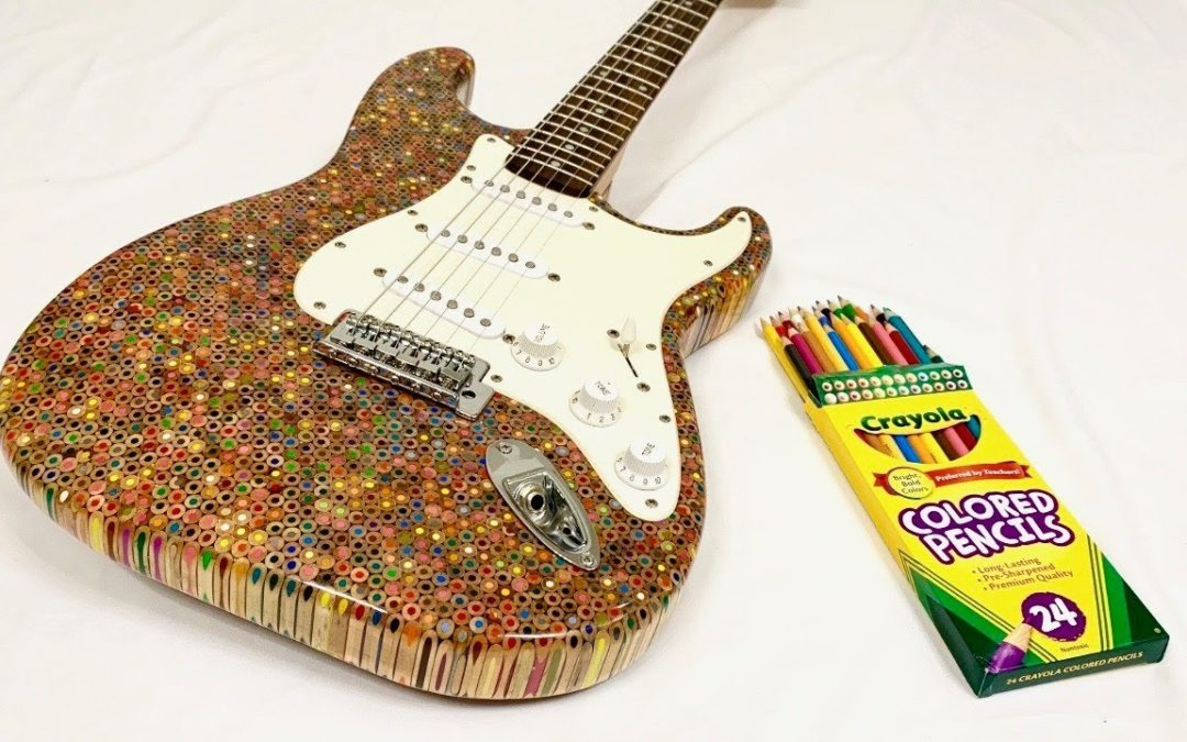 An Electric Guitar Made From 1,200 Colored Pencils